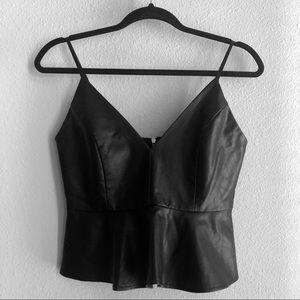 Black Faux Leather Peplum Top